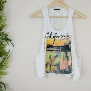 🌳 Proactive Destroyed Tank Top White Shredded M